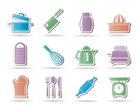 stew pot: Kitchen and household Utensil Icons - vector icon set