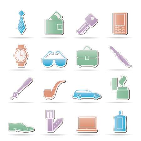 mobile accessories: man Accessories icons and objects- vector illustration Illustration