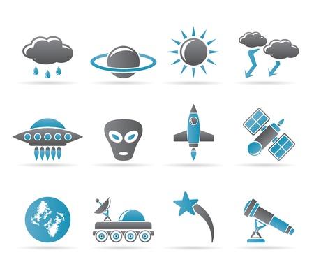 astronautics: Astronautics and Space and univerce Icons - Vector Icon Set