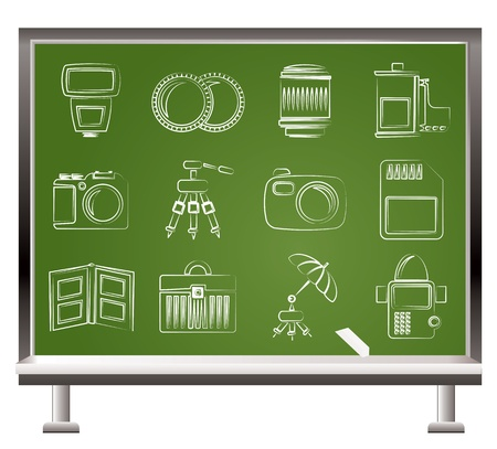 Photography equipment icons - icon set Vector