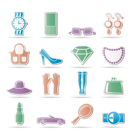 woman and female Accessories icons - illustration Stock Vector - 9210546