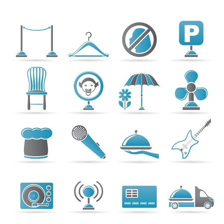 restaurant, cafe, bar and night club icons - icon set Vector
