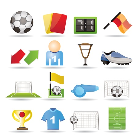 Voetbal, voetbal en sport icons - vector icon set Stockfoto - 9253383