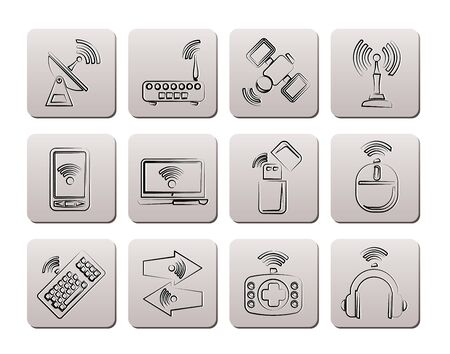 Wireless and communication technology icons - vector icon set Stock Vector - 9253381