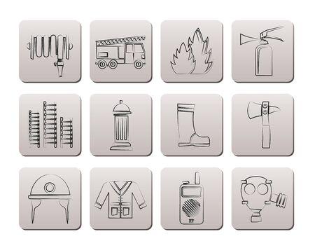 fire escape: fire-brigade and fireman equipment icon - vector icon set