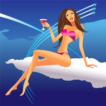 busty: party girl set on the cloud - vector illustration 1 Illustration