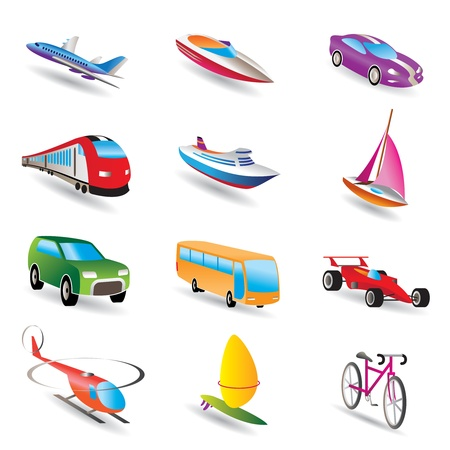 autobus: different kind of transportation and travel icons - vector icon set