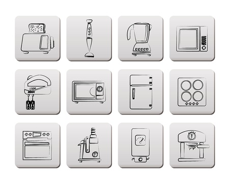 Kitchen and home equipment icons Stock Vector - 9330209