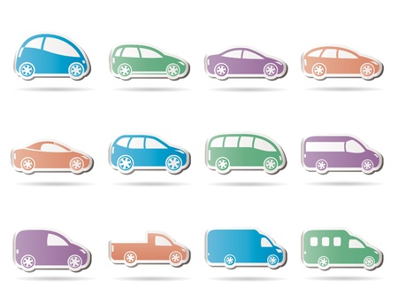 different types of cars icons Stock Vector - 9330200