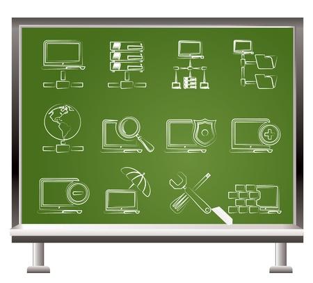 telecomunicaci�n: pintado con tiza de red, servidor y Hosting de iconos