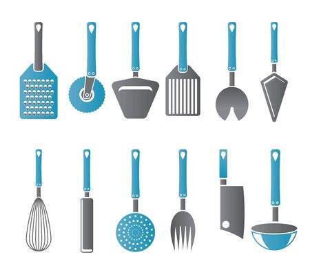 ladles: different kind of kitchen accessories and equipment icons - vector icon set