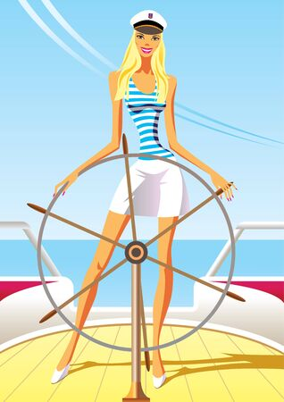 people traveling: beautiful woman on the luxury yacht - vector illustration