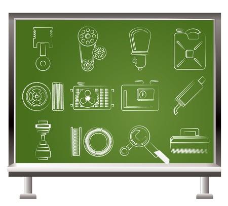 electronics parts: Car Parts and services Illustration