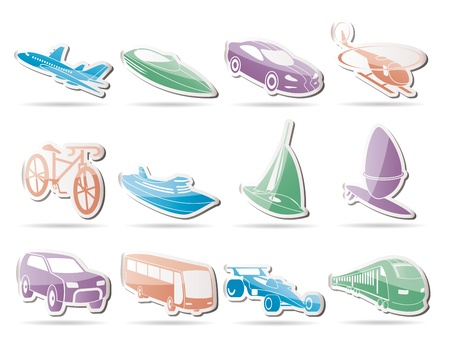 different kind of transportation and travel icons Stock Vector - 9468935