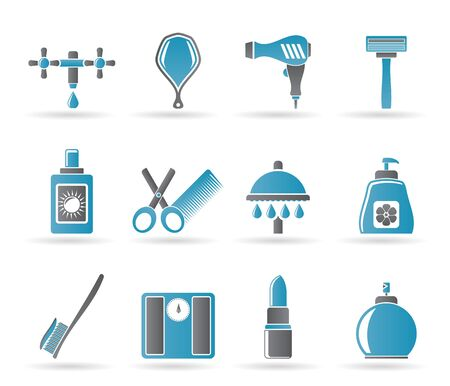 buttom: Personal care and cosmetics icons Illustration