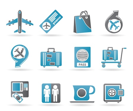 icone aeroporto, viaggi e trasporti