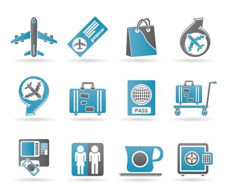 iconos de aeropuerto, viajes y transporte