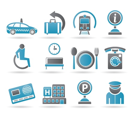 airport, travel and transportation icons  Vector