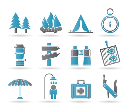 Camping, travel and Tourism icons Vector