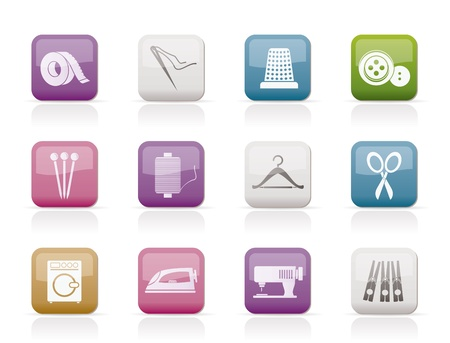 industria textil: Objetos de textiles y los iconos de la industria  Vectores