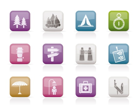 Camping, travel and Tourism icons - vector icon set Vector