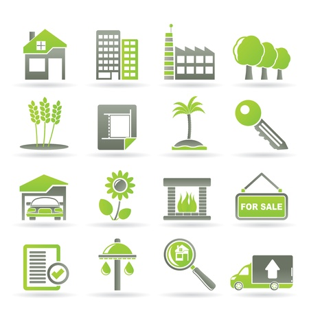 icone immobilier: Immobilier et construction ic�nes - Icon Set Vector Illustration