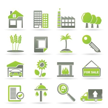 Inmobiliaria y creación de iconos - Vector Icon Set Ilustración de vector