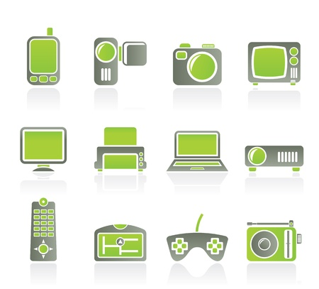 Hi-tech technical equipment icons - vector icon set Stock Vector - 9534674