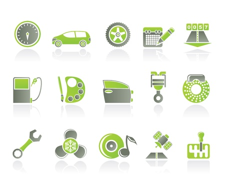 air pump: car parts, services and characteristics icons - vector icon set