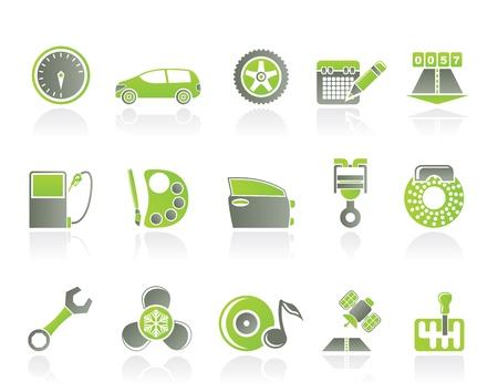 satellite navigation: iconos de art�culos, servicios y caracter�sticas de coche - conjunto de iconos de vectores