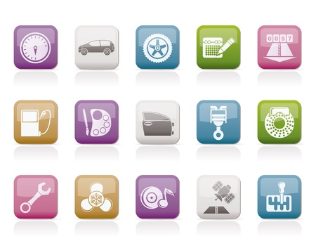 car parts, services and characteristics icons - vector icon set Stock Vector - 9534681