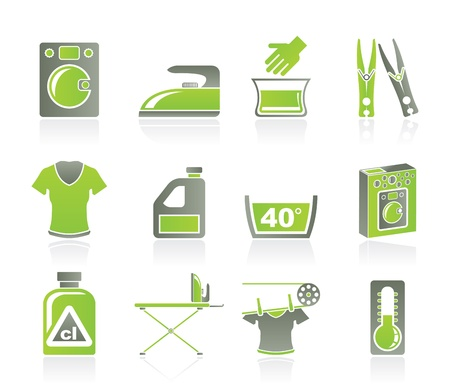 detergents: Washing machine and laundry icons - vector icon set