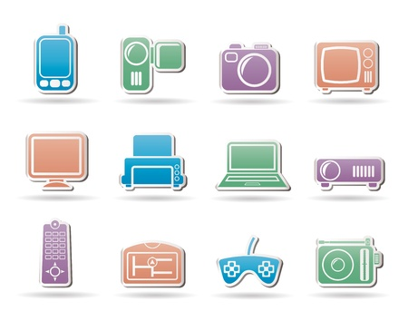 tv remote: Hi-tech technical equipment icons - vector icon set Illustration