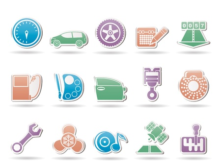vulcanization: car parts, services and characteristics icons - vector icon set