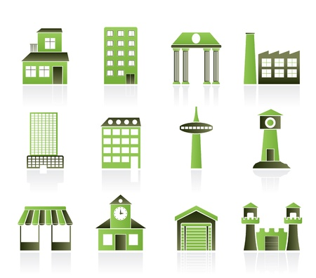 different kind of building and City icons - vector icon set Stock Vector - 9591936