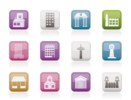 different kind of building and City icons - vector icon set Stock Vector - 9674671