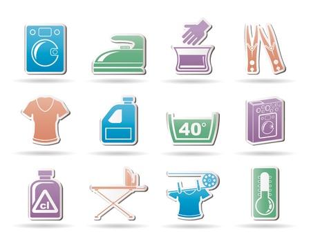 washing powder: Washing machine and laundry icons - vector illustration Illustration