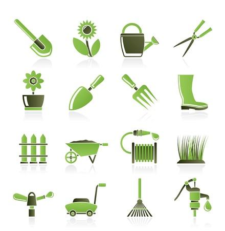 Jardín y jardines herramientas y objetos de iconos - conjunto de iconos vectoriales