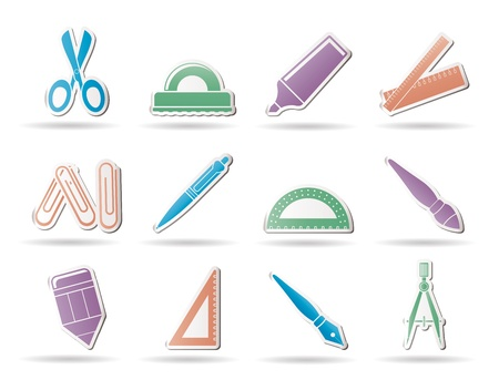 school and office tools icons- vector icon set Vector