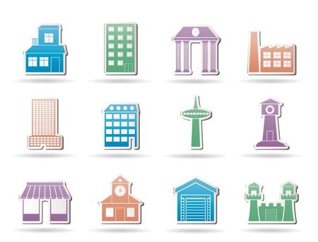 cantieri edili: diverso tipo di edificio e icone di citt� - vector icon set Vettoriali