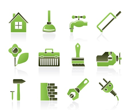 plumbers: construction and do it yourself icons - vector icon set