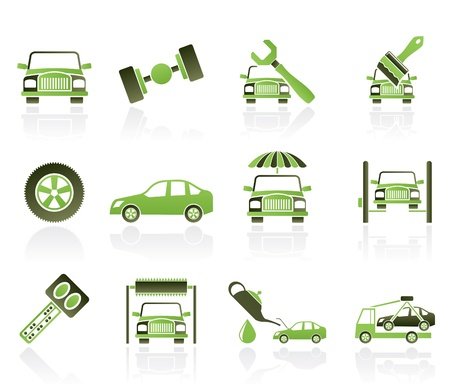 vehicle breakdown: auto service and transportation icons - vector icon set