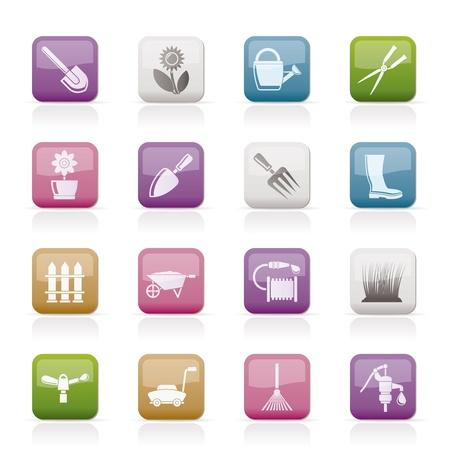 Jardín y jardines herramientas y objetos de iconos - conjunto de iconos vectoriales Ilustración de vector
