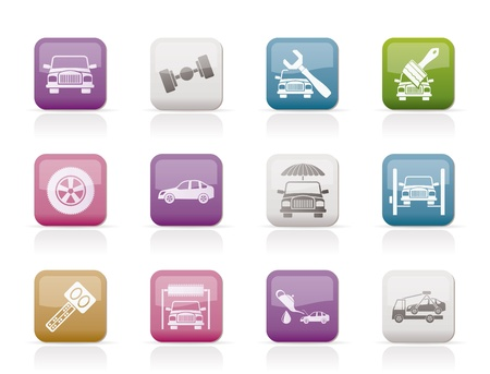 auto service and transportation icons - vector icon set Stock Vector - 9674674