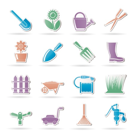 bucket and spade: Garden and gardening tools and objects icons - vector icon set Illustration