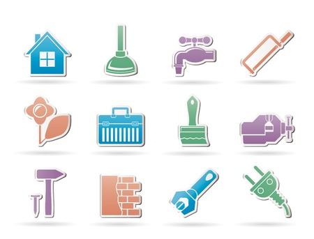 aguas residuales: construcci�n y h�galo usted mismo iconos - conjunto de iconos vectoriales