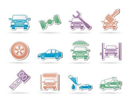 auto service and transportation icons - vector icon set Stock Vector - 9719458