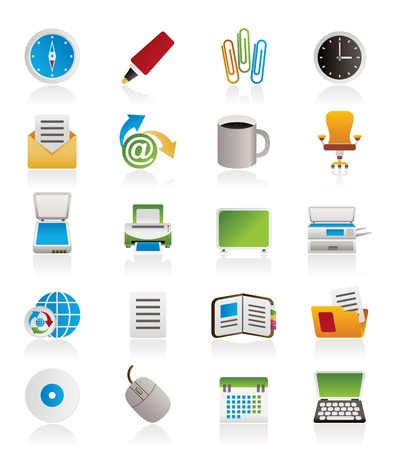 parcel: Business and Office tools icons - vector icon set 2