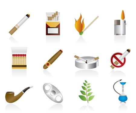 sigaretta: Icone di fumo e sigarette - vector icon set Vettoriali