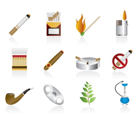 cigar: Smoking and cigarette icons - vector icon set Illustration